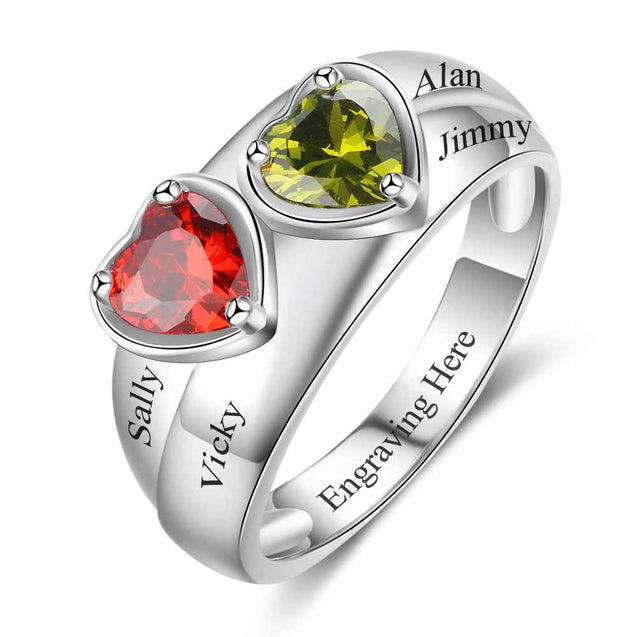Promise Ring Personalized with 2 Birthstones Perfect Gift For Mom