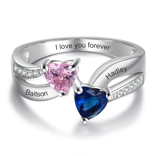 Personalized Promise Ring with 2 Birthstones Custom Mothers Ring Engraved with 2 Names Sterling Silver