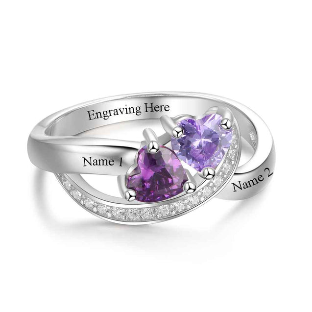 Wave Ring Personalized Promise Ring 2 Birthstones Engraved 2 Names Couple's Birthstone Rings