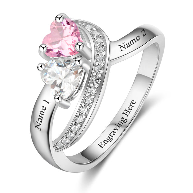 Fabulous Personalized Name Rings 2 Simulated Birthstones for Women Couple Engagement Rings Band
