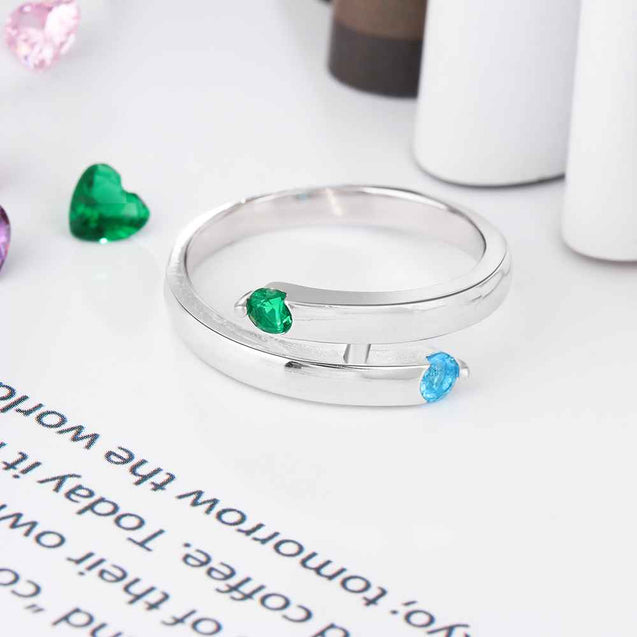 Personalized Promise Ring with 2 Round Birthstones Engraved 2 Name Mother's Ring Sterling Silver