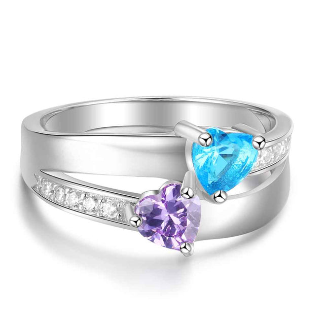 Double Heart Promise Ring With 2 Birthstones Engraved Ring in Sterling Silver