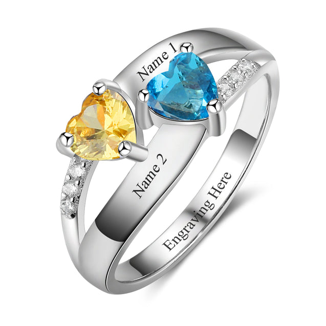 Double Heart Birthstone Promise Ring Personalized with 2 Stones Engrave 2 Names Custom Mother Ring