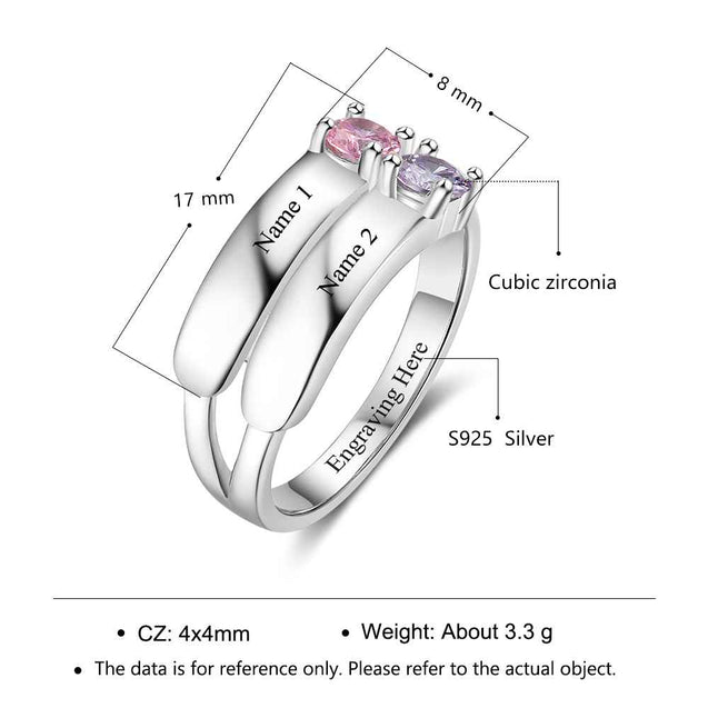 Solid Silver Bistratal Promise Ring Personalized with 2 Birthstones 2 Names