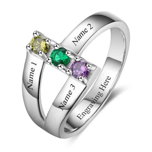 Mother Ring Family Ring Personalized with 3 Birthstones Unique Mother's Gift