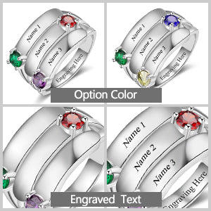 Birthstone Mothers Ring 3 Stones Engraved 3 Names Personalized Mom Rings Sterling Silver