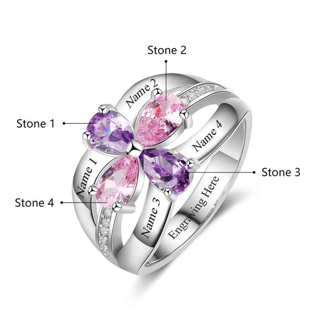 Clover Mother Ring 4 Birthstones 4 Names Personalized Famliy Ring Gift For Mother's Day