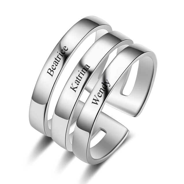 Silver Ring Personalized Engraved 3 Name Custom Ring