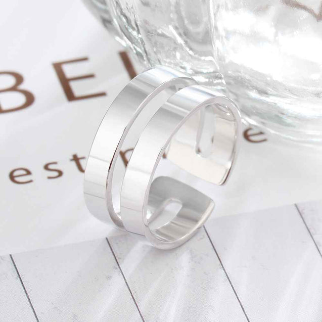 Personalized Silver Ring Engraved 2 Name Custom Ring