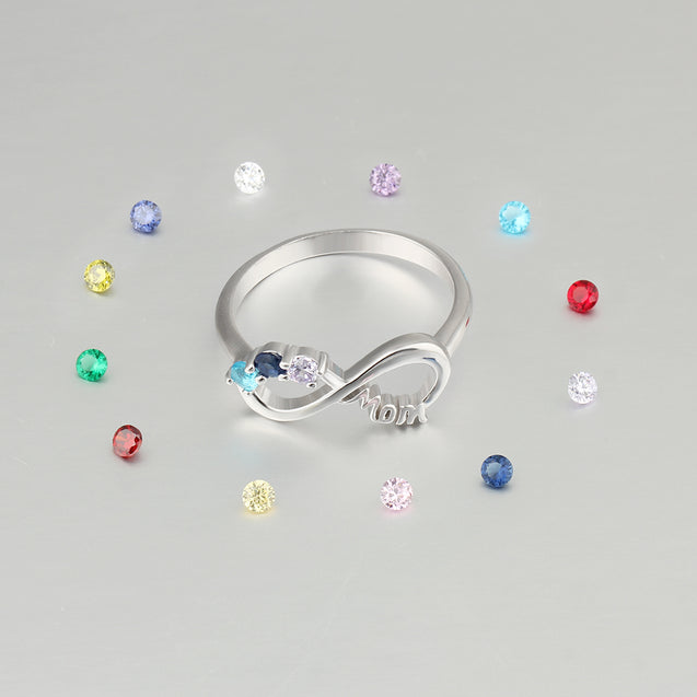 Infinity Mother Ring Family Ring Personalized with 3 Birthstones Best Gift For Mother