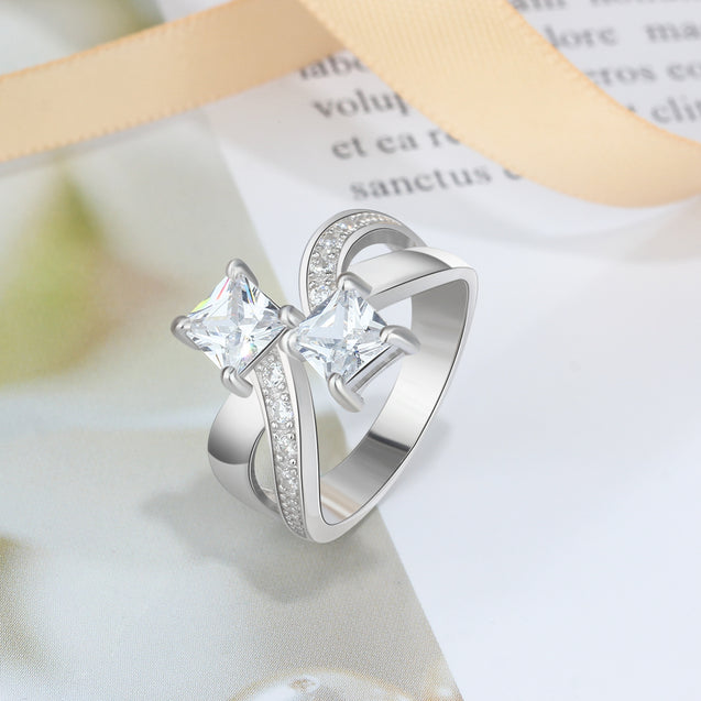 Princess Cut Promise Ring with2 Birthstone Personalized Mother Ring Engraving 2 Names