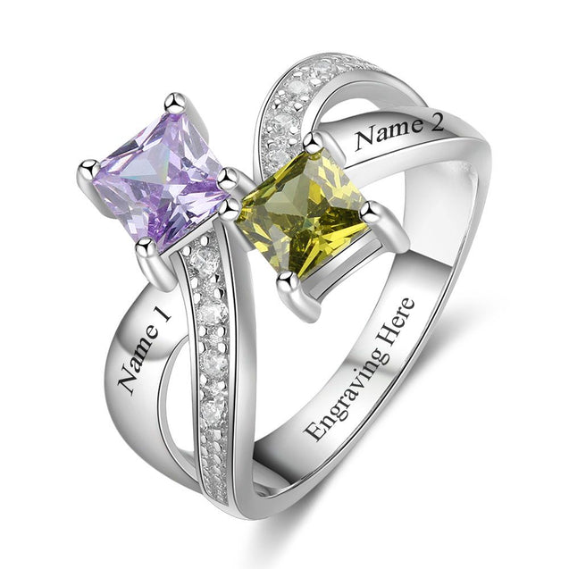 Mother's princess cut birthstone ring,