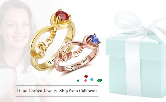 Infinity Mother Rings gift idea Gold Plated