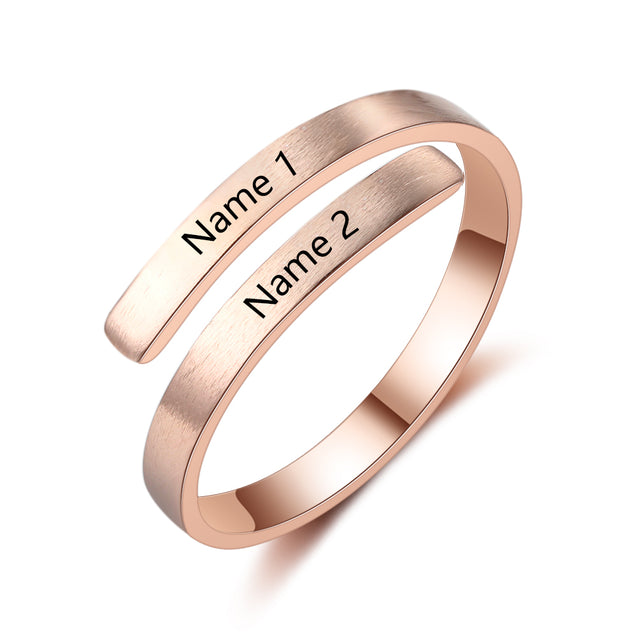 Engraved Promise Ring Personalized 2 Name Unique Gift For Friend For Mother