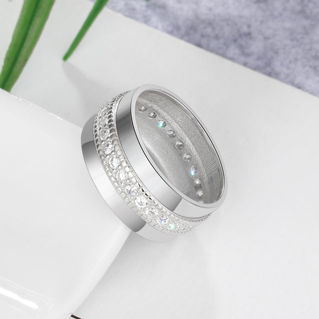 Engraved Personalized Ring Cubic Zirconia Rings Silver Promise Ring Mothers Ring Gift Idea