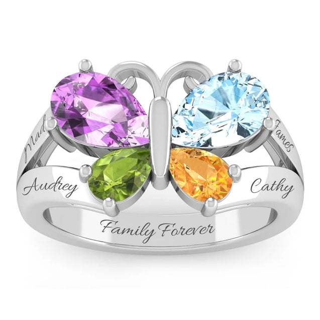 Birthstone Butterfly Mother Ring 4 Stones Engraved 4 Names Personalized Mom Rings