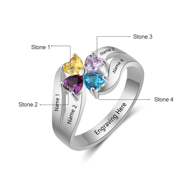 Personalized Mother Ring 4 stones Engraved 4 Names Family Birthstone Ring Custom Unique Gift For Mom