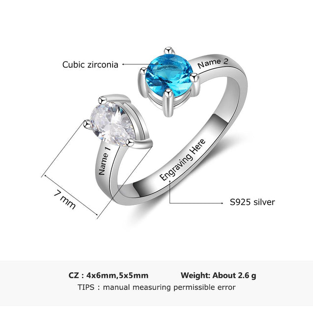 Promise Rings For Her Egraving with 2 Birthstones 2 Names Special Mother Gift Anniversary Jewelry