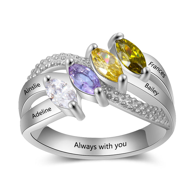 Mothers Ring with 4 Birthstones Engraved 4 Names Personalized Mom Ring Mother's Day Gift