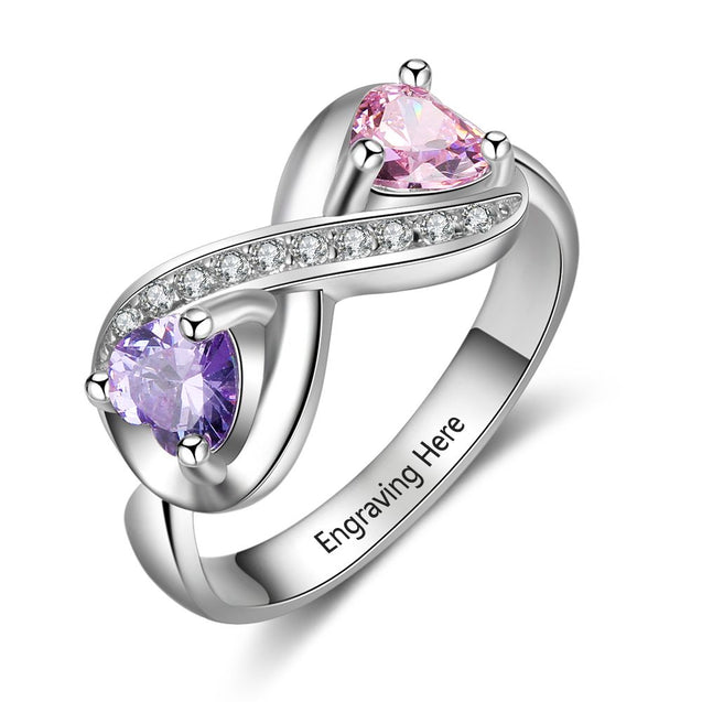 promise ring for her personalized with 2 birthstoens and 2 names