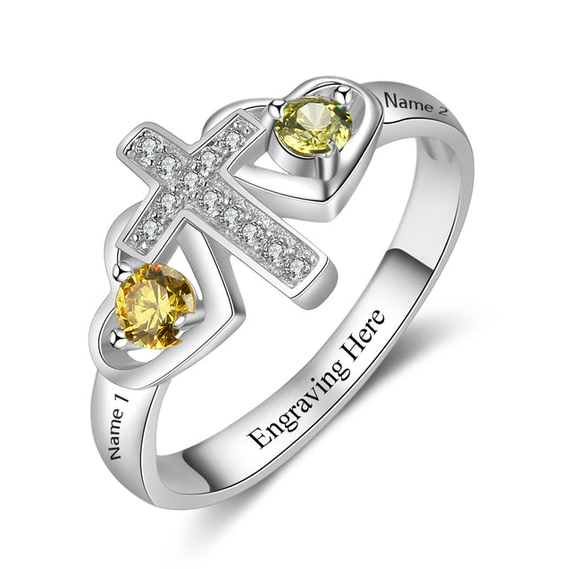 Promise Ring Latin Cross Ring Personalized with 2 Birthstones Unique Mother's Day Gift