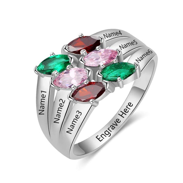 Birthstone Mother Ring 6 Stones Personalized Family Ring Engraved 6 Names Gift for Grandmother