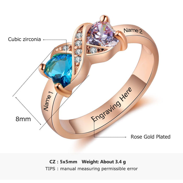 Infinity Promise Ring Personalized with 2 Birthstones 2 Names in Rose Gold Color 925 Silver