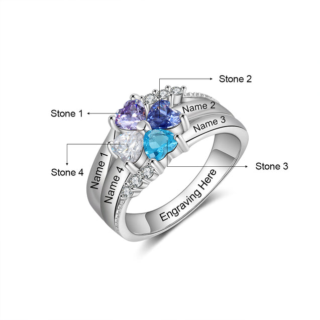 Heart Birthstone Mother Ring 4 stones Engraved 4 Names Personalized Family Ring Custom Gift for Mum