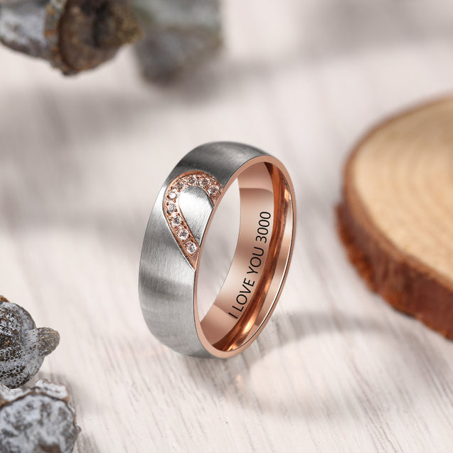 Half Heart Matching Promise Ring for Couples Lovers Personalized Bands Ring Rose Gold
