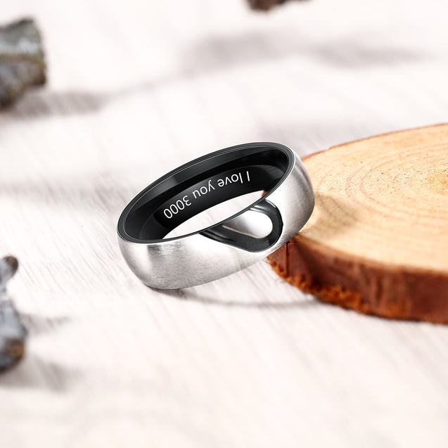 Promise Rings for Couples Heart Matching Ring Set Engravable Personalized his and her Ring Black