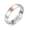 Couples Ring for Her Half Heart Matching Engravable Personalized Promise Ring for Lovers