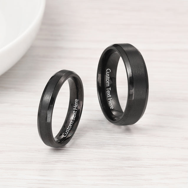 Couples Ring for Her Women Engravable Personalized Lovers Promise Ring Black