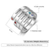 Mother Ring with 3 Stones Engraved 3 Names Personalized Birthstone Warp Ring Family Ring Gift for Mom