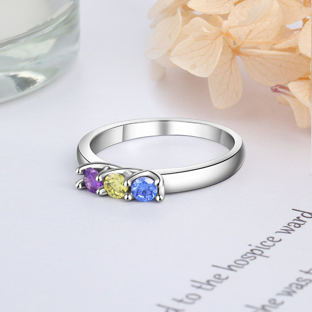 Mother's Birthstone Ring 3 Stones Engraved Personalized Band Ring Sterling Silver Mother's Day Gift