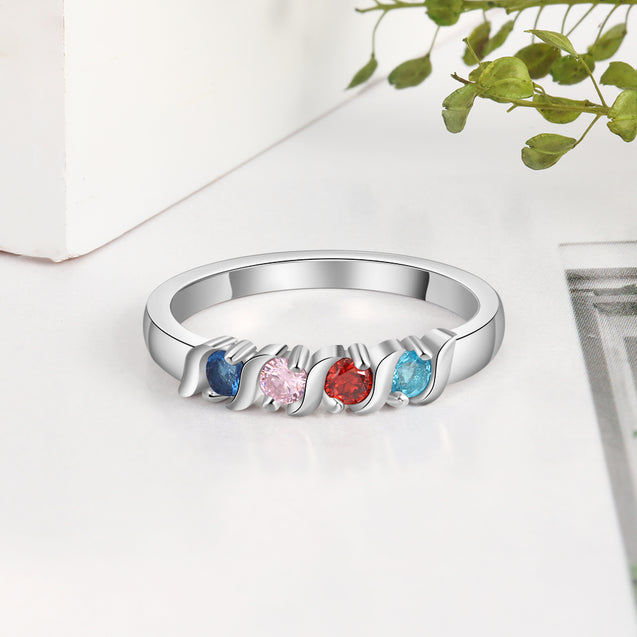 Mother Ring Personalized with 4 Birthstones Band Ring Custom Mother's Day Gift