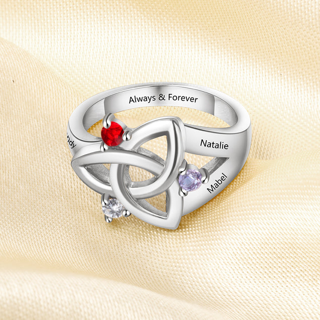 Celtic Ring For Her personalized family ring sterling silver engraved 3 names gift for mom