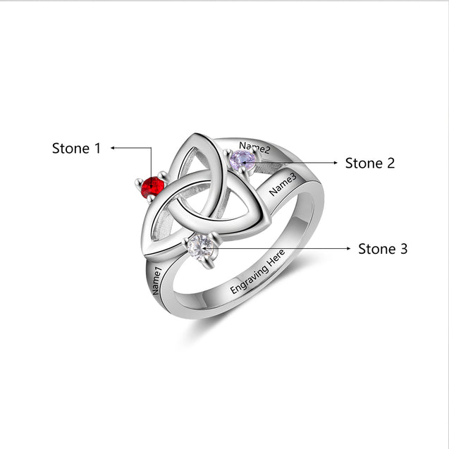 Celtic Ring For Her Personalized Mother Rings with 3 Birthstones Engraved 3 Names Family Rings
