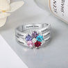 Personalized Mother Ring With 5 Simulated Birthstones Engraved 5 Names Family Ring Gift For Mom