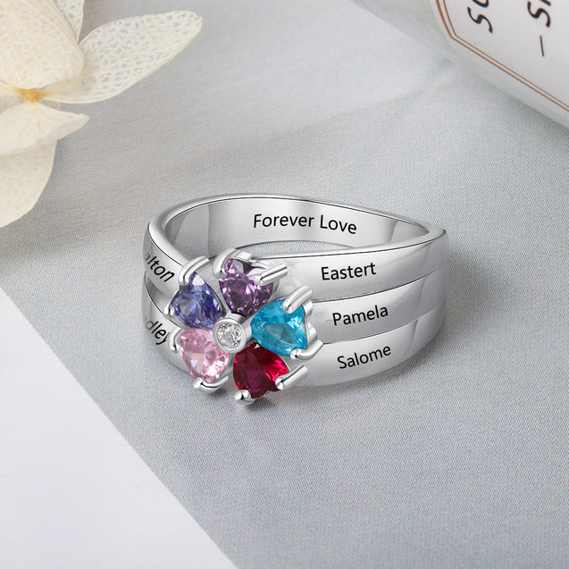Personalized Mother Ring With 5 Birthstones Engraved 5 Names Family Ring Gift For Mom