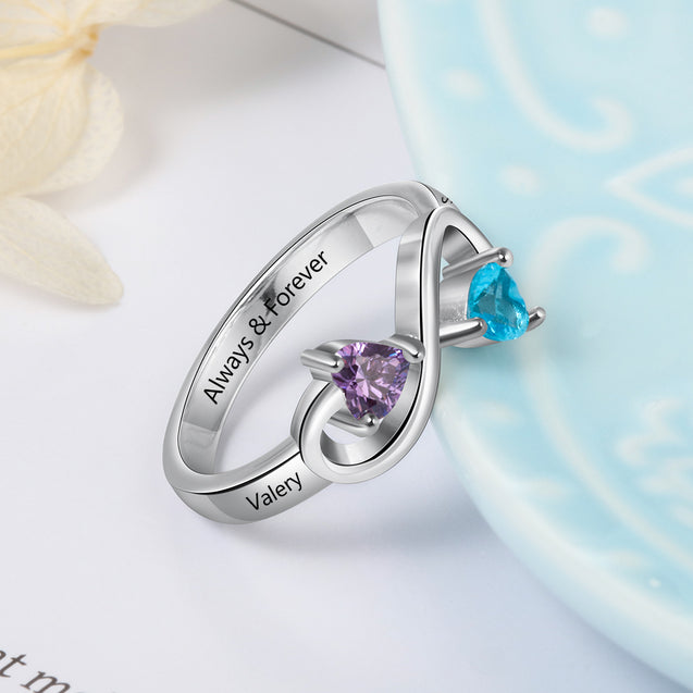 infinity promise ring for her personalized engraved names