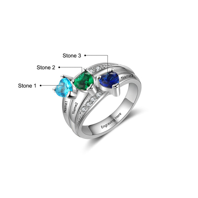 Personalized Mother Ring with 3 Birthstones 3 Names Engraved Family Ring Custom Gift For Mother's Day