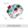 Mother Ring 6 Stones Engraved 6 Names Personalized Birthstone Family Ring Best Gift for mother's Day