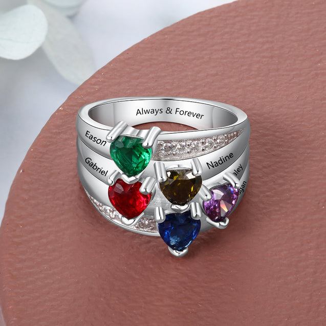 Mothers Ring with 5 Birthstones Engraved 5 Names Personalized Family Ring Best Gift for mother's Day