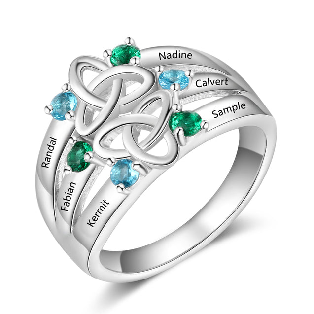 Celtic Ring For Her personalized family ring sterling silver