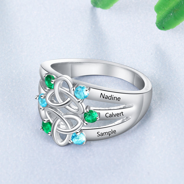 Celtic Ring Mother Ring 6 Stones Engraved 6 Names Personalized Birthstone Family Ring For Mom