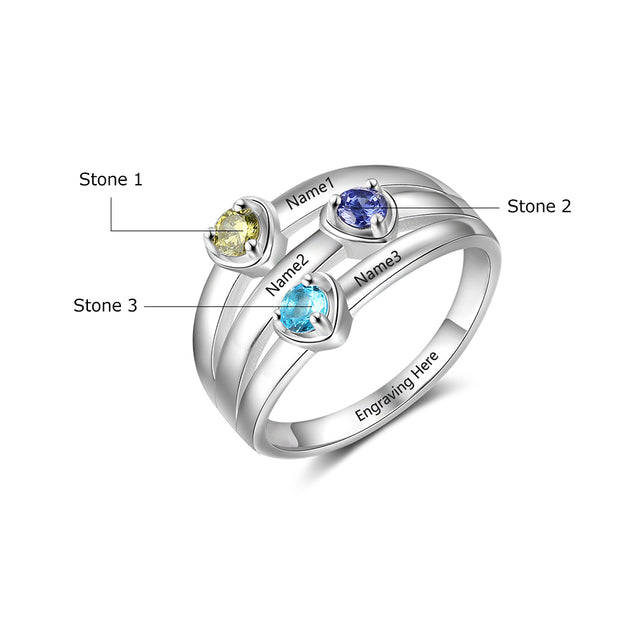 Mother Ring 3 Stones Engraved 3 Names Mom Rings Heart Personalized Birthstone Family Ring