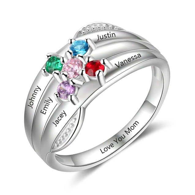 Personalized Mother Ring 5 Stones Engraved 5 Names Family Ring Silver Band Ring