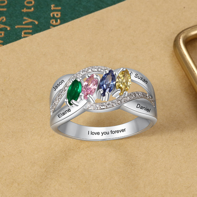 Mother Ring 4 stones Engraved 4 Names Personalized Family Ring Custom Gift for Mother's Day
