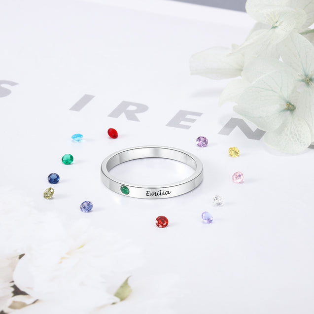Birthstone Ring For Mom Mother Daughter Ring Sterling Silver Engraved Name Perfect Gift For Women