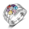 Heart Birthstone Ring Mothers Ring
